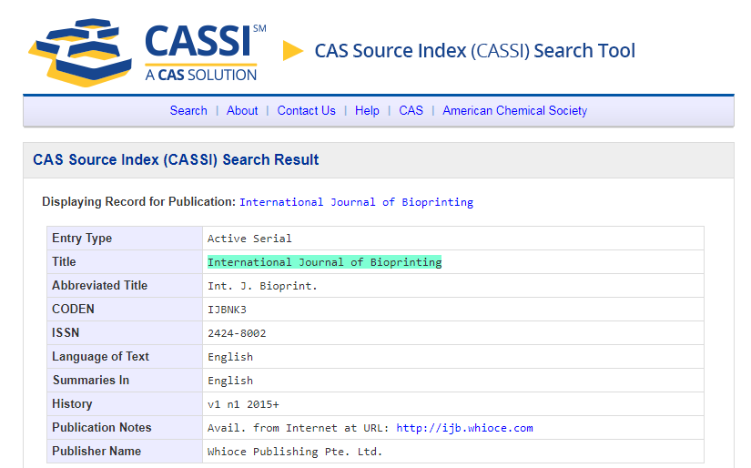 CAS source index (CASSI) search tool.